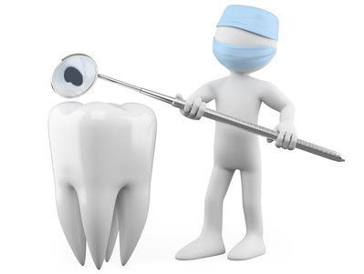 Dentist showing a cavity with a mouth mirror